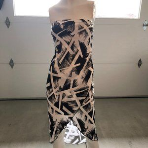 Bebe Strapless Layered Midi Cocktail Dress Sz M